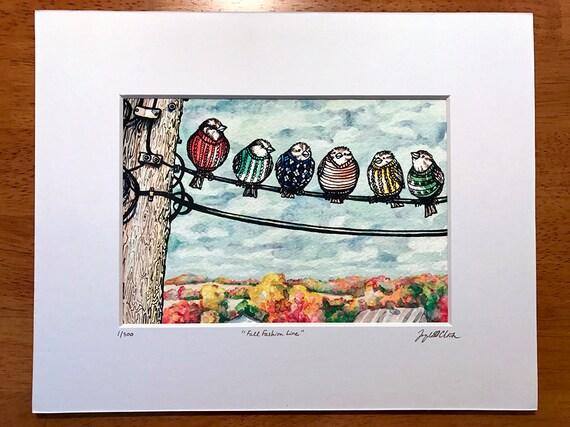 Spatzen auf Draht-Wand-Kunst-Druck Mode Pullover für Vögel