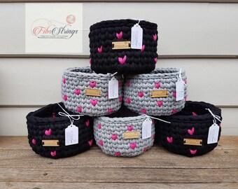 Handmade Crochet Love Heart T-Shirt Yarn Basket   Storage Basket   Pot Plant Cover   Multi Purpose Storage   Shelf Basket   Modern Crochet