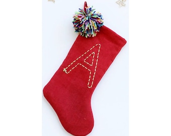 Personalized Christmas Stocking - Pom Pom Christmas Stocking - Boho Holiday Stocking - Kids Christmas Stocking - Babys First Christmas