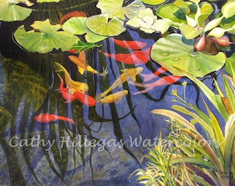Koi fish, lily pads art watercolor painting print 12x16 by Cathy Hillegas, orange, red, yellow, green blue, purple, koi watercolor, koi art