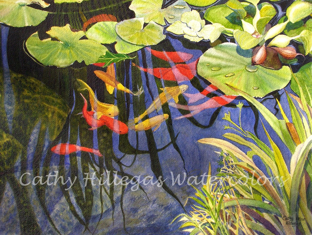 Koi Fish Lily Pads Art Watercolor Painting Print 12x16 By