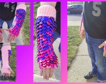 Pink to Purple Gradient Large Half Wrap Knitted Scalemail Gauntlets on Light Pink Yarn - JayeCreations