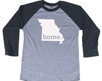 Homeland Tees Missouri Home Tri-Blend Raglan Baseball Shirt