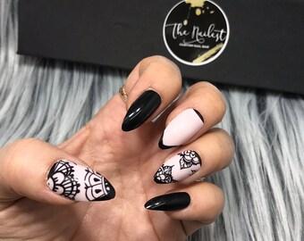 READY TO SHIP | Kate | Nude Black Lace Floral Printed Press On Nails | Full Set | Fake Nails | False Nails | Glue On Nails