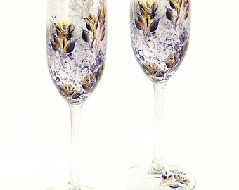 50th Anniversary Glasses, Flutes Set of 2 Choice of Style, Elegant Navy and Gold Roses  Navy Retirement Gift 25th Wedding Anniversary Gift