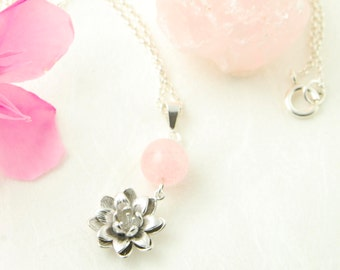Rose Quartz Necklace Silver Lotus Flower Pendant Necklace Heart Chakra Necklace Rose Quartz Love Stone Necklace Mothers Day Gift For Her