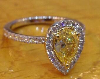 1 Carat Pear Diamond Engagement Ring, 14K Gold Diamond Halo Ring, Fancy Yellow Diamond Engagement Ring, Vintage Ring, Art Deco Engagement