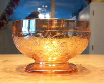 JEANNETTE GLASS LOUISA flora gold 8 oz footed sherbert/ice cream dish