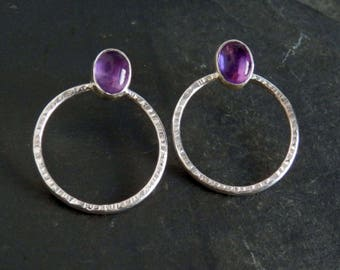 Amethyst earrings / sterling earrings / amethyst studs / February birthstone / hoop earrings / amethyst jewelry / chakra / gift for her