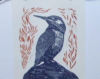 Kingfisher bird art print original lino print