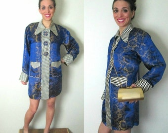 1960s Vintage Asian Tunic Pajama Jacket   //  Chinese Lounge Mini Coat Dress
