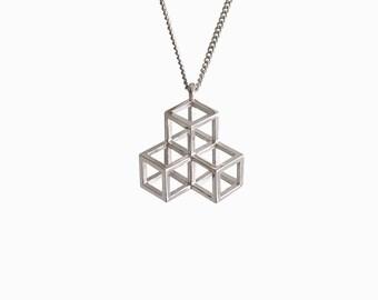 Triple Cube Necklace - Minimal Geometric Jewelry - 3D Printed (Silver, Brass)