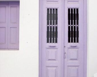"""Purple Door Print - Greece Travel Photography - Wood Door Print -  White Lavender Decor - Purple Wall Art  """"Purple Door"""""""