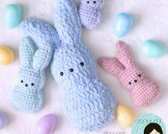 Chillin' with the Peeps Easter Crochet Pattern ~ Marshmallow Bunny Rabbits ~