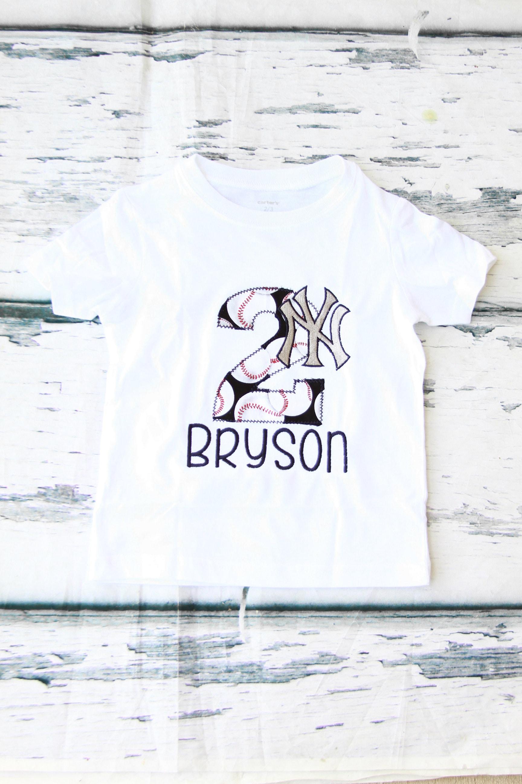 Boy 2nd Birthday New York Yankees Themed shirt Baby Girl two