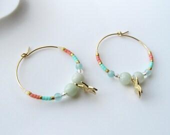 """Créoles en plaqué or Gold Filled et perles Miyuki """"étoile de mer"""""""