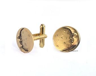 Lune et étoiles disque de boutons de manchettes en forme de boutons de manchette pince à cravate ou cravate broche Option Set