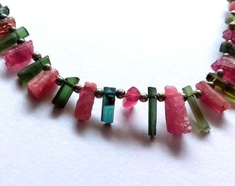 Amazing multi --tourmaline rocks , sticks , rough ,,2x4 mm - 4x6 mm , 10 inch strand approx ( sr no , 2327 )