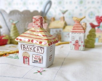 "Miniature Ceramic House, ""Bakery"", Fairy Garden or Terrarium Decor, Pale Blue with Red and Yellow Roof, English Country Village Collection"