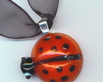 Red Glass Ladybug Pendant. Black Polka dots. Insect Ladybird . Polka dot . Mother's day - Cute Visitor in my Garden by enchantedbeas on Etsy