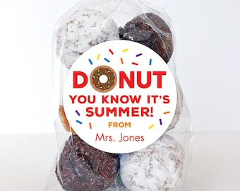"""Last Day of School Stickers - """"DONUT You Know It's Summer"""" - Sheet of 12 or 24"""