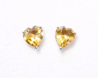 2 Ct AA Citrine Sterling Silver .925 Heart Cut Studs Earrings, November Birthstone Studs, Wedding Studs, Yellow Studs, Heart shaped Studs