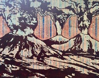 Volcanos Blast Zone Striped Fine Art Print Pacific Northwest, Mount Saint Helens, Mount Hood, Mount Bachelor, Cascadia