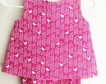 Baby Reversible Dress - Toddler Pinafore Set -  Reversible Aline Dress - Pink Dress - Spring Dress