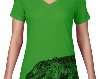 CLEARANCE FINAL SALE Womens V Neck, Crocodile Tshirt, Crocodile Tee, Australian Animal, Crocodile T Shirt, VNeck,