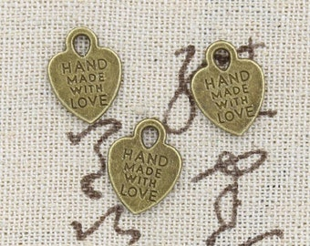 12 Handmade With Love Charm Pendant 15mm x 12mm - Antique Bronze Plated - Jewelry Making