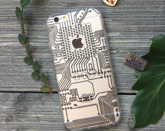 Circuits Phone Case for iPhone 5, SE, 6, 6 Plus, 7, 7Plus, 8, 8 Plus and X. TPU or Wood Options
