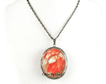 Orange Pill Box Necklace Hand Painted Enamel Oval Locket Necklace Quartz Inspired with Color and Personalized Options