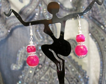 HOT PINK faceted quartz crystal and sterling silver dangle Earrings So PRETTY
