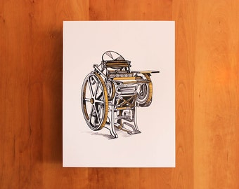 Chandler & Price Letterpress Illustration Screenprint, 12x16