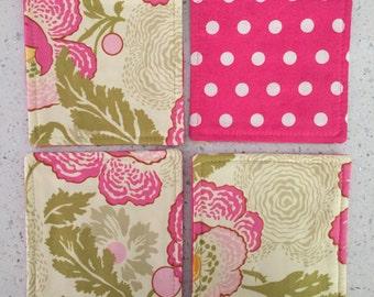 Drink Coasters - Set of 4 - Pink Flowers