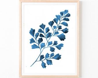Botanical Watercolor Art, Botanical Art, Fern Watercolor Art, Navi Art Print, Blue Decor, Navi Wall Art, Home Decor, Digital Print