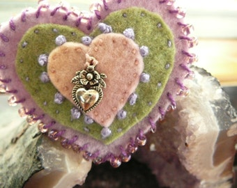 Heart Brooch, Milagors Brooch, Mother's Day Brooch, Made to Order Felt Waldorf Brooch