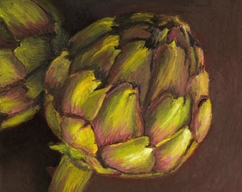 Giclee, Archival, Matted Print of an Original Oil Pastel Painting of an Artichoke