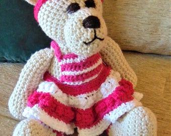 """Crocheted teddy bear stuffed animal doll toy """"Kayla"""""""