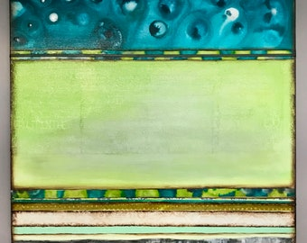 original acrylic mixed media painting- 40 by 40 inch- turquoise sky