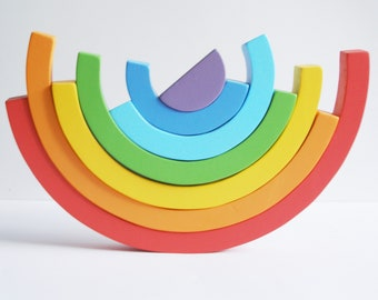 Bright Rainbow Stacking Wooden Toy Rainbow Stacker Balance Toy Waldorf Montessori Puzzle Games Educational Toddler Gift Room Decor