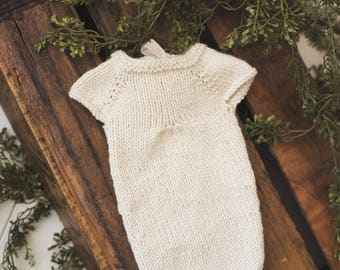 Simplicity Collection: Short sleeve chiffon ties romper newborn knit photography prop