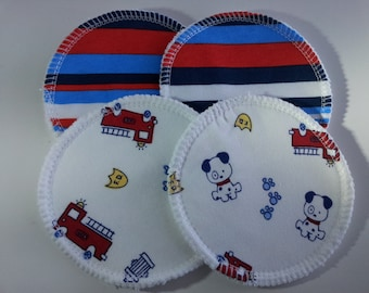 2 Pairs of Cloth Nursing Pads - Fire Dogs and Stripes