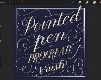 Procreate Pointed Pen Brush for Calligraphy & Lettering