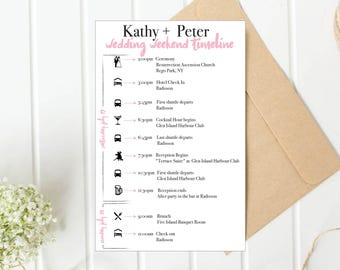 Personalized wedding itinerary with icons wedding schedule PDF Wedding program with icons Personalize printable itinerary itinerary timeline
