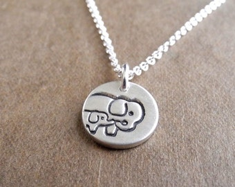 Teeny Tiny Mother and Baby Elephant Necklace, New Mom Necklace, Fine Silver, Sterling Silver Chain, Made To Order