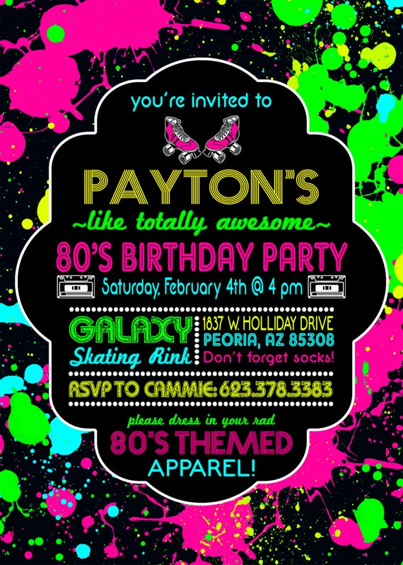 80s Birthday Invitations 80s Birthday Invitations 80s