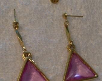 Vintage Light Amethyst/Pink Rhinestones Triangular Pierced Earrings