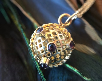 14K Gold Unique Ball Necklace with Amethyst Stones (st - 1256)