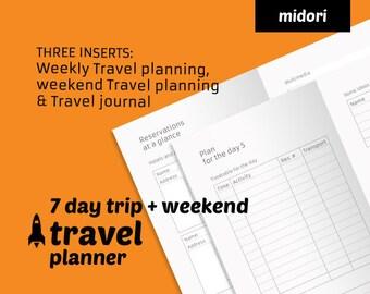 Week & Weekend Travel planner + travel journal printable - Midori TN insert - Travelers Notebook refill - ready to print travel planner